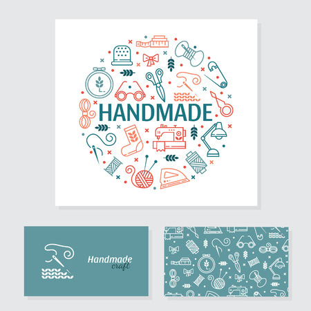 Vector Hand made banner and business card. Hand made icons set - symbols or logos of sewing, knit, embroidery, needlework. Business card with front and back page. Handmade workshop. Çizim