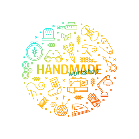 Vector Hand made icons set - symbols or logos of sewing, knit, embroidery, needlework. Handmade workshop banner. Perfect for banners, flyers and web design.