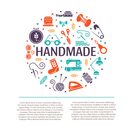 Vector Hand made icons set - symbols or logos of sewing, knit, embroidery, needlework. Perfect for banners, flyers and web design. Ilustração