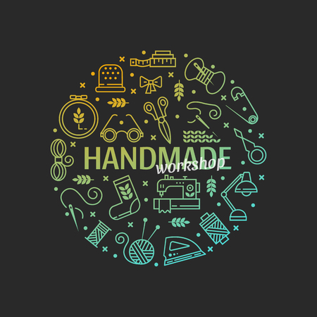 Vector hand made icons set - symbols or icons of sewing, knit, embroidery, needlework. Handmade workshop banner. Perfect for banners, flyers and web design. Ilustração