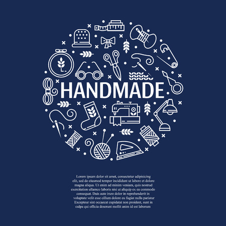 Vector hand made icons set - symbols or icon of sewing, knit, embroidery, needlework. Perfect for banners, flyers and web design. Illustration