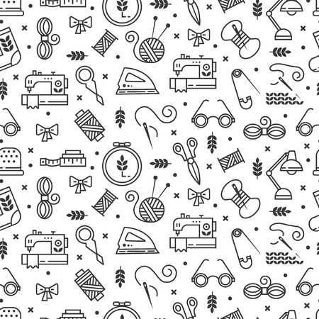 Vector seamless pattern with hand made icons. Symbols of sewing, knit, embroidery, needlework isolated on background.