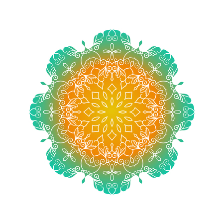 Vector mandala. Round ornamental contour mandala. Perfect for logo, oriental decoration, coloring books. Illustration
