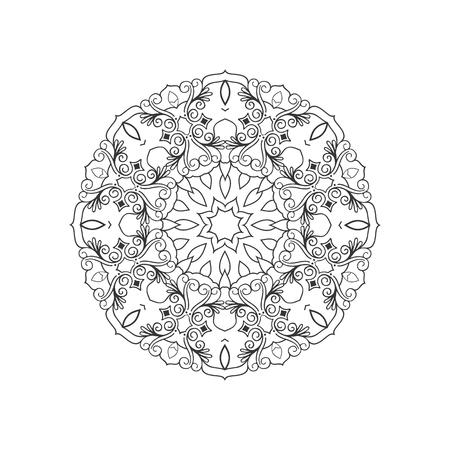 Vector round ornamental contour mandala frame. Perfect for logo, oriental decoration, coloring books. Indian, Islam, Arabic motifs. Vector hand drawn illustration.