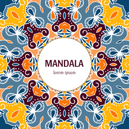 Vector Mandala background with text. Vintage decorative elements. Hand drawn colorful mandala design. Stock Vector - 93321379
