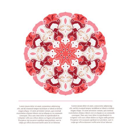 Vector Mandala background with text. Vintage decorative elements. Hand drawn colorful mandala design.