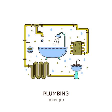 Plumbing repair round concept.