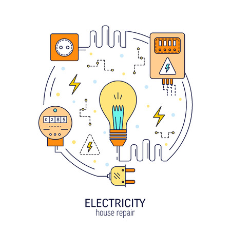 Electricity and energy round concept