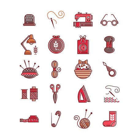 Icons set of red knitting elements with a lamp, scissors and pins