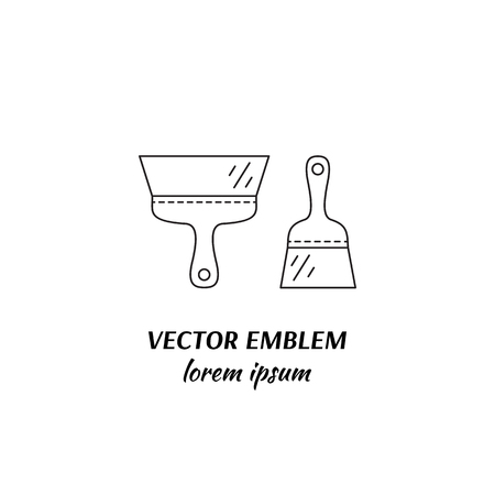 Vector house repairs symbol in trendy line style isolated on white background. Putty knife. Icon in linear style.