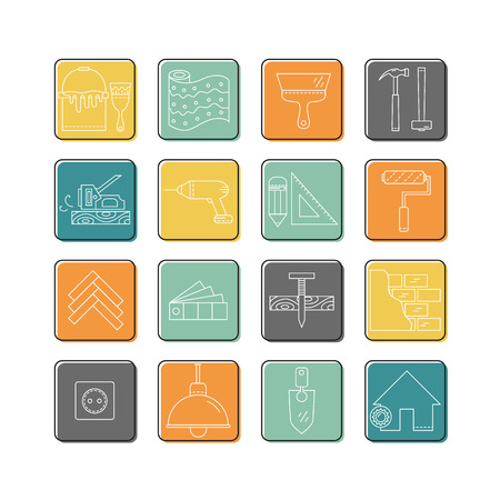 House repair graphic in line illustration on rounded square frame.