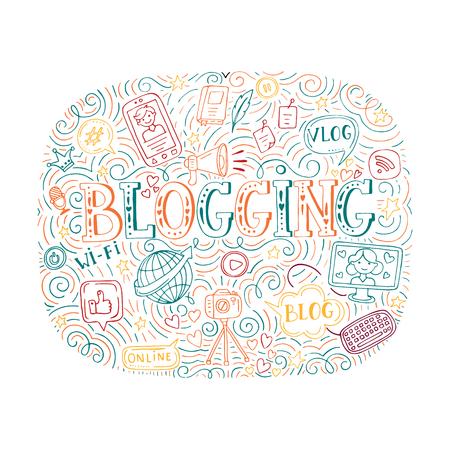 A Vector blogging illustration isolated on plain background. Illustration