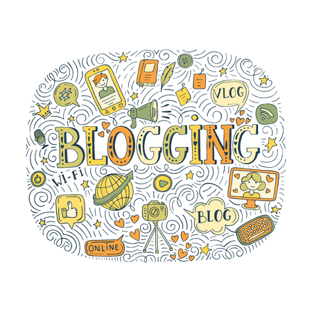 A Vector blogging illustration isolated on gray background.