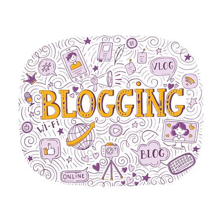 Elegant handwriting concept of blogging on colored illustration.