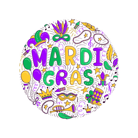 Mardi Gras elements and lettering isolated on plain background. Иллюстрация