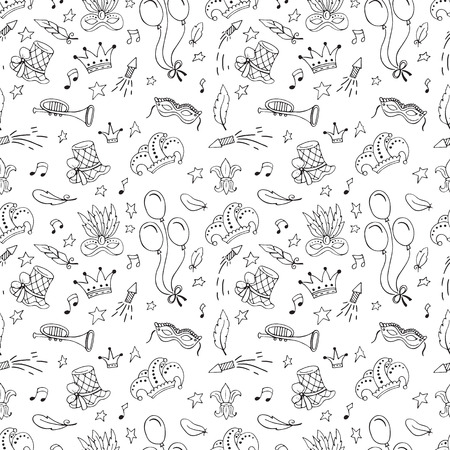 Mardi Gras seamless pattern isolated on plain background.