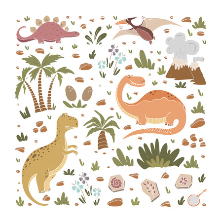 Vector elements of  prehistoric age life. Illustration