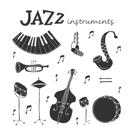 Vector Jazz instruments icons isolated on white background. Saxophone, double bass, piano, trumpet, bass drum and snare drum. Perfect for music events poster, jazz concerts.