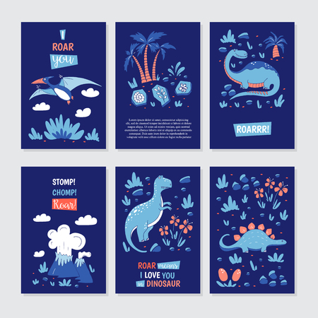 Vector greeting cards with funny dinosauts and elements in cartoon style for children birthday party, baby shower, poster and print. Illustration