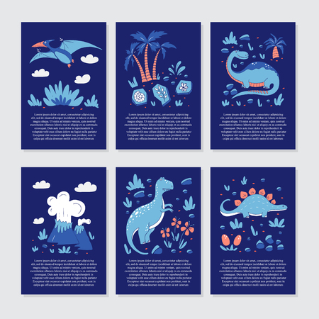 Vector greeting cards with funny dinosauts and elements in cartoon style for children birthday party, baby shower, poster and print. Stock Illustratie