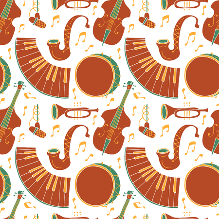Seamless pattern with music instruments