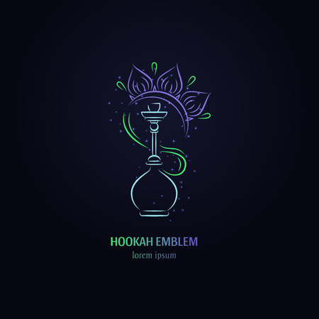 Vector hookah with flower  logo design. Hookah label. Smoking hookah perfect for lounge cafe emblem, arabian bar or house, shop.