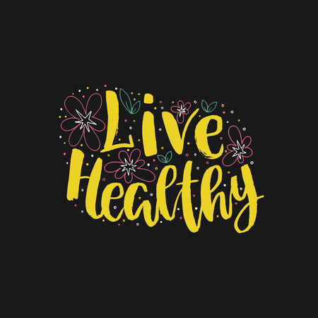 Live healthy lettering illustration