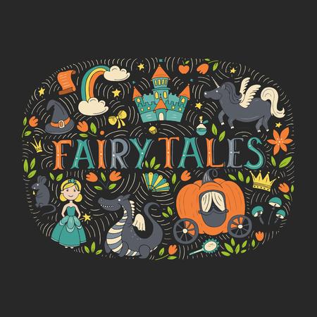 Fairy tales illustration isolated on dark background