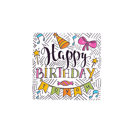 Vector Happy Birthday hand drawn illustrations for greeting cards design isolated on white background. Happy Birthday to you. Party elements.
