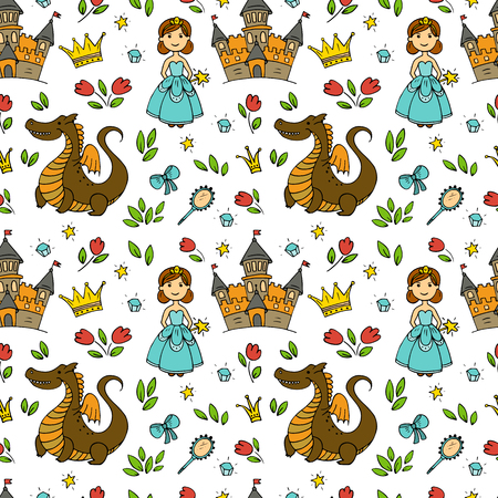 Fairy tales vector seamless pattern on white background