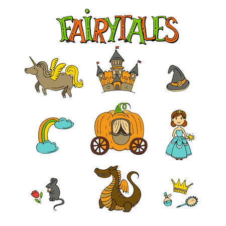 Fairy tales hand drawn icon set vector