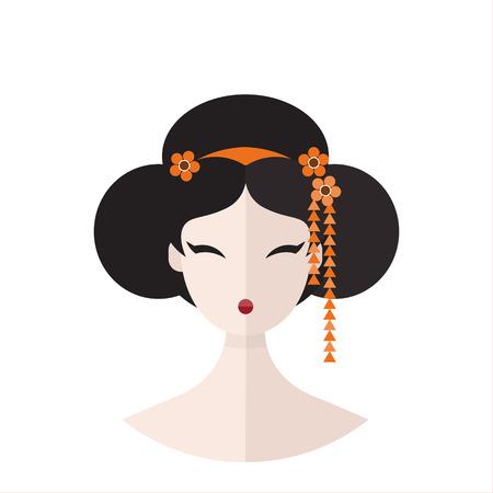 Beautiful Geisha in kimono portret vector flat illustration  イラスト・ベクター素材