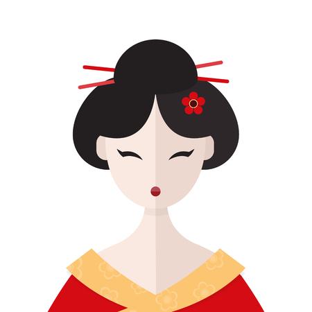 Beautiful Geisha in kimono portret vector flat illustration Standard-Bild - 123269571