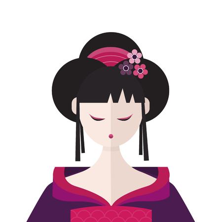 Beautiful Geisha in kimono portret vector flat illustration Standard-Bild - 123269572