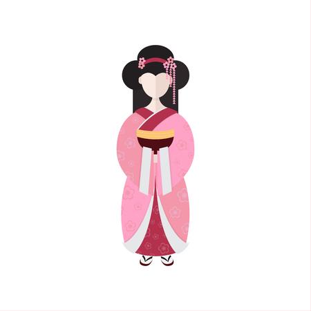 Vector Japanese Geisha in kimono isolated on white background . Ilustrace