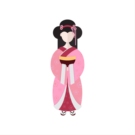 Vector Japanese Geisha in kimono isolated on white background . Illusztráció
