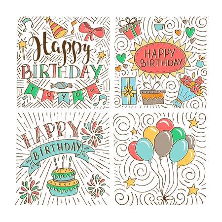 Set of birthday hand drawn illustrations for greeting cards design isolated on white background. Happy Birthday to you. Party elements. Illustration