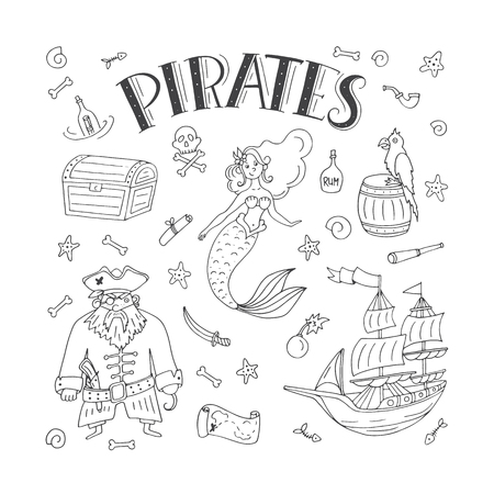 Vector Pirates icon set in freehand style illustration