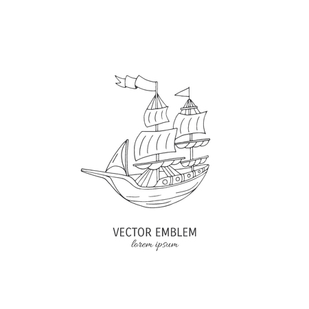 Vector line art Ship isolated on white background