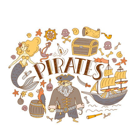 Vector Pirates set in freehand style. Symbols of pirates - hat, sword, guns, treasure chest, ship, flag, captain, skull and crossbones, compass mermaid map parrot