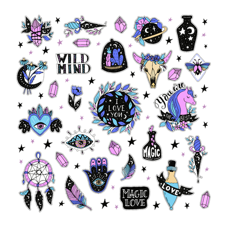 Vector patch set magic love and witchcraft. 80s-90s wild magic style design. Isolated illustrations - great for stickers, embroidery, badges.