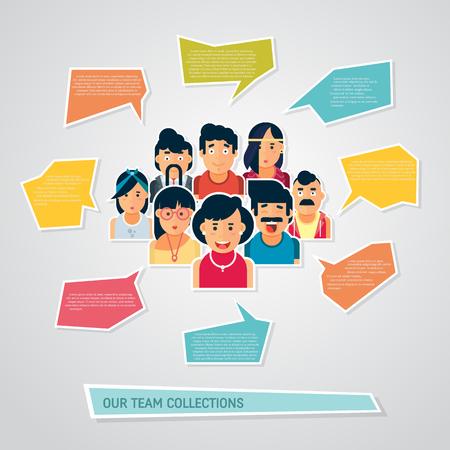 Iconos de personas con burbujas de discurso de chat. Diseño vectorial de diferentes personajes, incluidos hombres y mujeres. Conjunto de iconos de diseño de personajes planos. Avatar de personas Ilustración de vector
