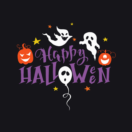 Vector hand drawn poster with hand-lettering, scary pumpkins, ghosts. Happy Halloween greeting card. Perfect design element for poster or banner. Vetores