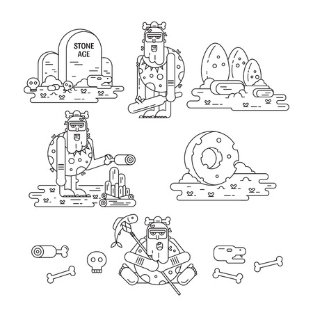 Stone age flat line icons set with caveman different pose, tools, food, fire, dinosaur eggs, skulls and bones isolated on white. Vector illustration