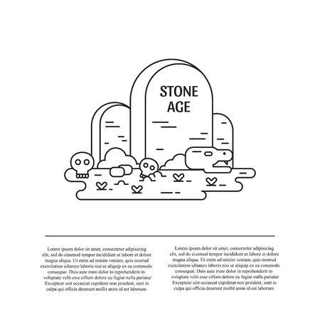 Stone age line art vector illustration and text Stok Fotoğraf - 123270472