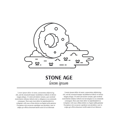 Vector stone wheel line art illustration and text