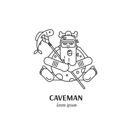 Caveman line art illustration isolated on white