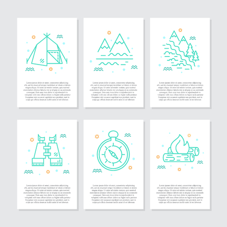 Rafting equipment line icons vector big collection