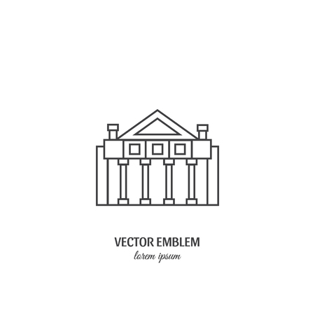 Theater building with columns line icon vector