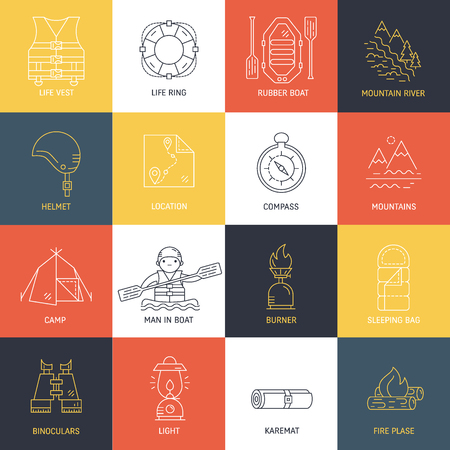 Rafting equipment line icons isolated on white Illustration